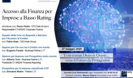 WEBINAR Accesso alla Finanza per Imprese a Basso Rating - 27 maggio 2020