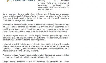 MF - Promotica presentata domanda di ammissione su Aim Italia